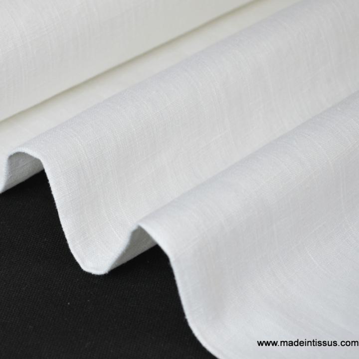Tissu Lin lavé blanc pour confection x50cm