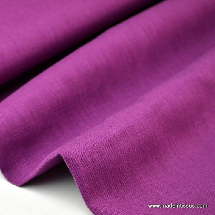 Tissu Lin lavé violet pour confection x50cm