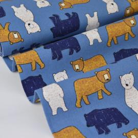 Tissu Popeline en coton gratté imprimé oursons jaune et écru sur fond Bleu