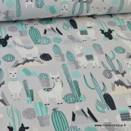 Tissu jersey imprimé Lamas et Cactus vert et gris
