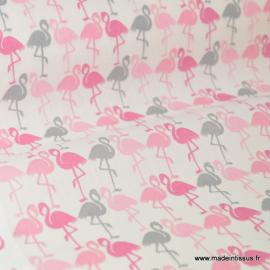 Tissu cretonne coton imprimée Flamants roses et gris .x1m