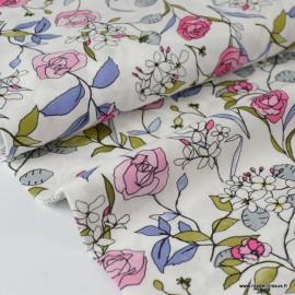 Tissu Viscose fluide imprimé délicates fleurs roses et bleues