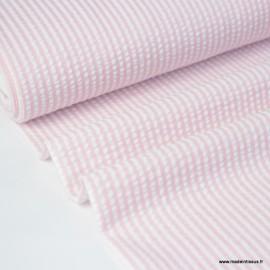 Tissu seersucker à rayures rose et blanc