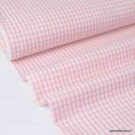 Tissu seersucker de coton vichy rose et blanc