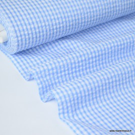 Tissu seersucker de coton vichy blanc et bleu