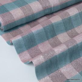Tissu Viscose Lurex à carreaux rose et menthe