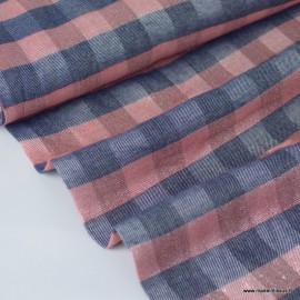 Tissu Viscose Lurex à carreaux rose et marine