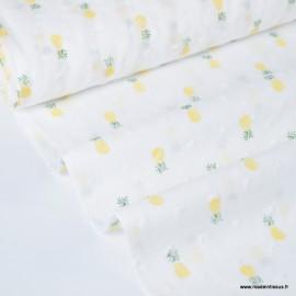 Tissu plumetis voile de coton blanc imprimé ananas jaunes