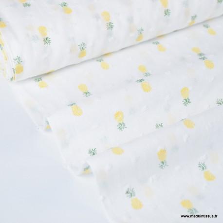 Tissu plumetis blanc imprimé ananas jaunes