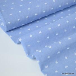 Tissu plumetis voile de coton chambray Bleu