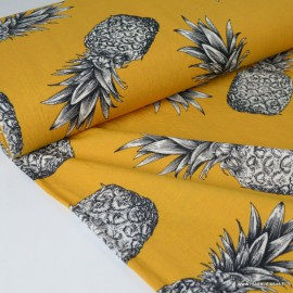Tissu Viscose Oeko tex Moutarde imprimé Ananas noir et blanc