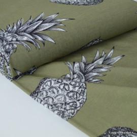 Tissu Viscose Oeko tex Kaki imprimé Ananas noir et blanc