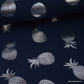 Tissu jersey bleu marine imprimé Ananas glitter argenté