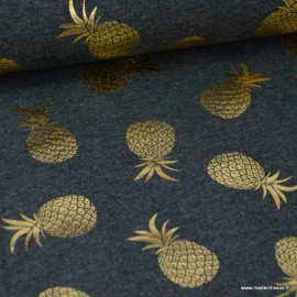 Tissu jersey gris chiné imprimé Ananas glitter doré