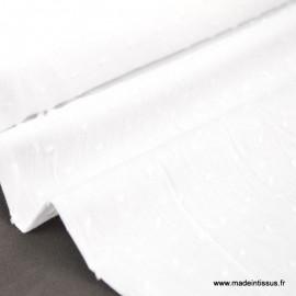 Tissu  plumetis fantaisie blanc