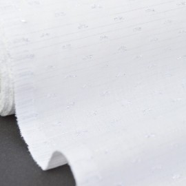 Tissu plumetis Lurex Blanc perle .x1m