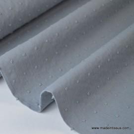 Tissu coton plumetis Oeko tex gris .x1m