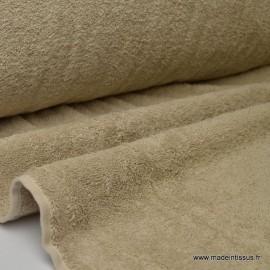 Tissu Eponge 100% coton beige lisiere cousue.