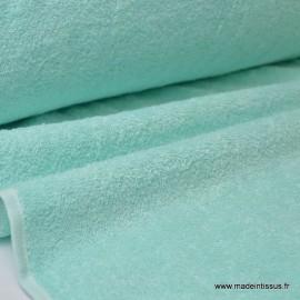 Tissu Eponge 100% coton menthe lisiere cousue.