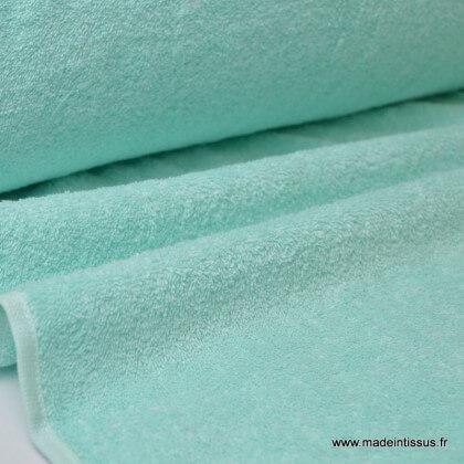 Tissu Eponge 100% coton menthe lisiere cousue au mètre