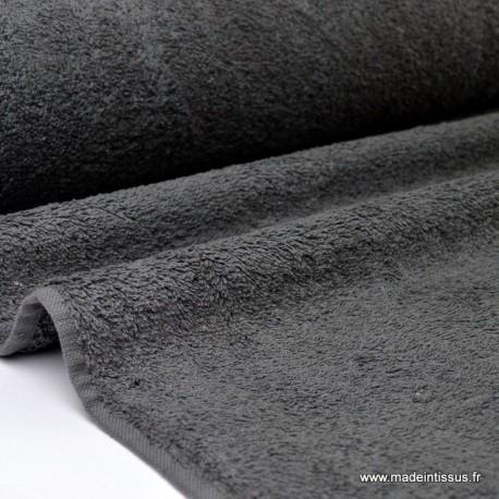 Tissu Eponge coton gris ardoise  lisiere cousue au mètre