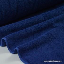 Tissu Eponge coton marine lisiere cousue fermée