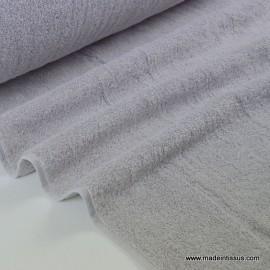 Tissu Eponge coton gris lisiere cousue fermée .x1m