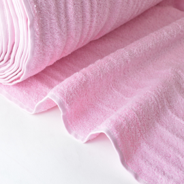 Tissu Eponge coton rose lisiere cousue fermée au mètre