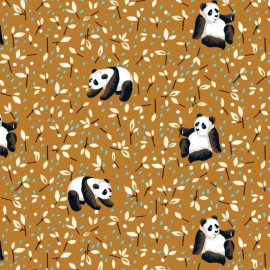 Tissu cretonne coton Oeko tex imprimé Pandas fond Moutarde