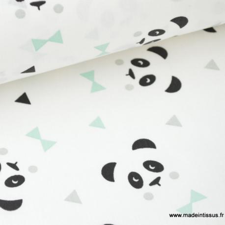 Tissu Coton Imprimé Panda Menthe Sur Fond Blanc Pour Enfant X50cm