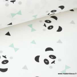 Tissu 100% coton dessin panda menthe