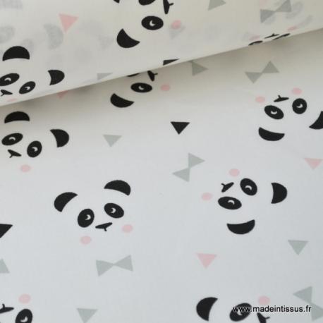 Tissu Coton Imprimé Panda Rose Sur Fond Blanc Pour Enfant Au Mètre