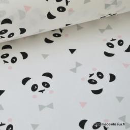 Tissu 100% coton dessin panda blanc  x50cm