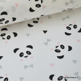 Tissu 100% coton dessin panda rose et blanc