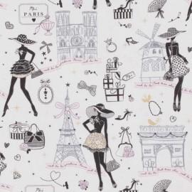 Tissu cretonne coton Oeko tex imprimé Moi Paris, Notre Dame, tour eiffel, arc de triomphe... Noir, rose et doré