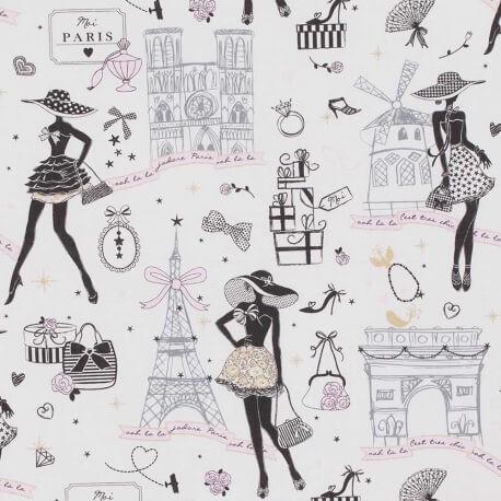 Tissu cretonne coton moi paris doré Oeko tex imprimé Paris, Notre Dame, tour eiffel, arc de triomphe... Noir, rose et doré