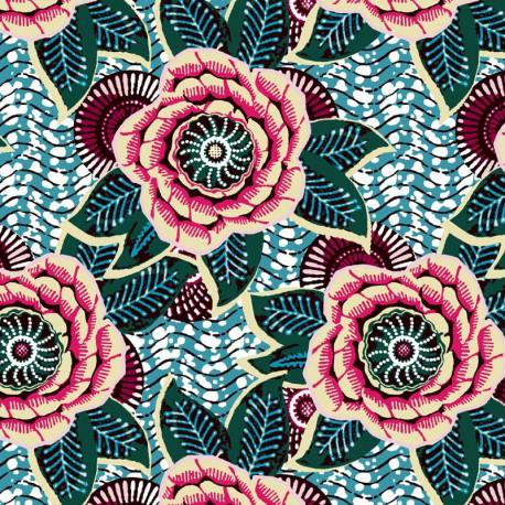 Tissu cretonne coton imprimé Fleurs Dahlia fond Emeraude