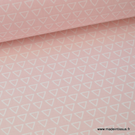 Tissu 100% coton dessin triangles blanc fond rose  .x1m