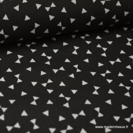Tissu 100% coton dessin triangles noir.