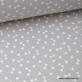 Tissu coton oeko tex dessin triangles Gris