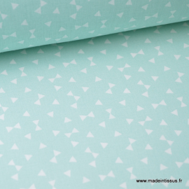 Tissu coton oeko tex dessin triangles Menthe .x1m