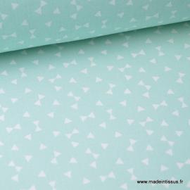 Tissu 100% coton dessin triangles Menthe x50cm