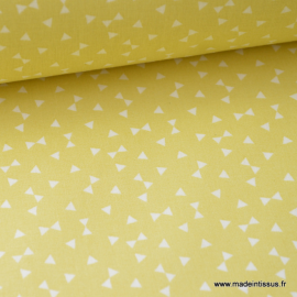 Tissu 100% coton dessin triangles jaune Citron  .x1m