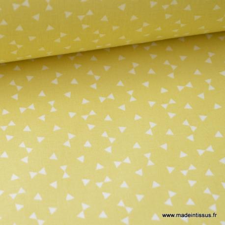 Tissu 100% coton dessin triangles jaune Citron  x50cm