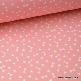 Tissu 100% coton dessin triangles Corail