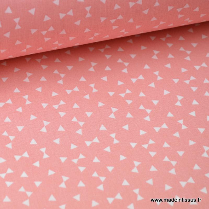 Tissu Coton Imprime Petits Triangles Corail Et Blanc X50 Cm