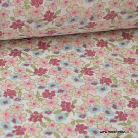 Tissu coton imprimé fleurs et fleurettes rose, prune et menthe