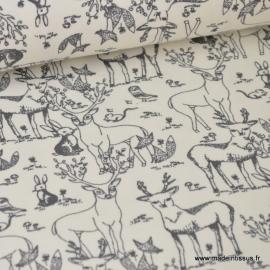 Tissu Jersey BIO imprimé Animaux de la foret cerfs, biches, lapins et compagnie