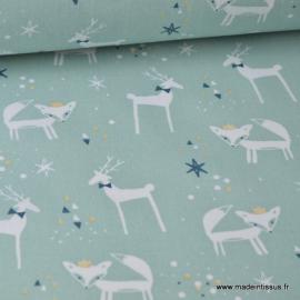Tissu coton imprimé Renards et cerfs blanc et or sur fond menthe Thème Hiver Noel - Oeko tex