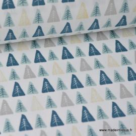 Tissu coton imprimé sapins indigo, menthe et Or Thème Hiver Noel - Oeko tex .x1m